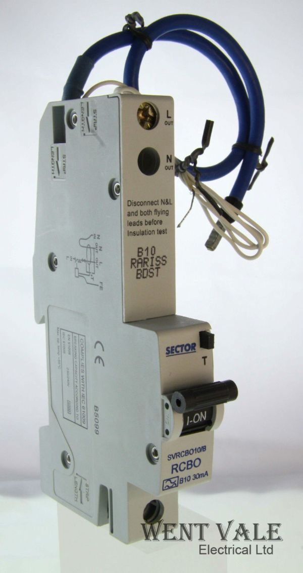 Sector SVRCBO10/B - 10a 30mA Type B Single Pole RCBO Un-used In Box